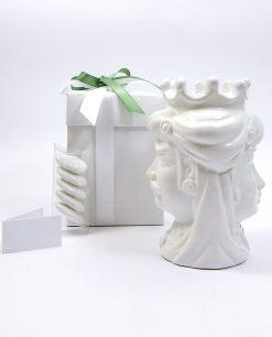 bomboniera testa di moro in ceramica bianca insieme per sempre