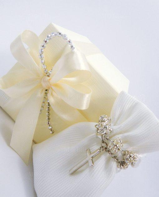 bomboniera bracciale rosario con strass confezionato con sacchettino e scatola