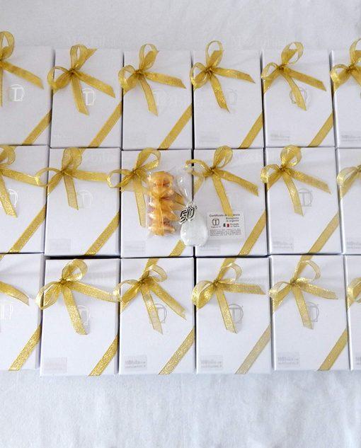 bomboniera clessidra vetro con ciondolo 50 tabor scatola e nastri oro