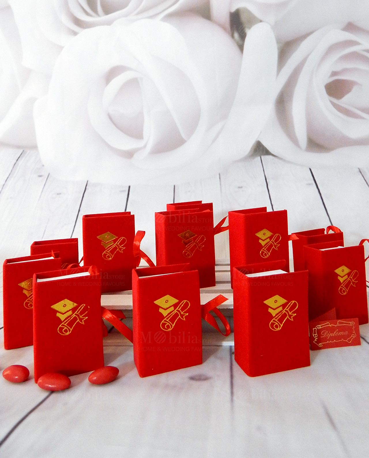 Bomboniera scatolina libro portaconfetti laurea rosso - Mobilia ... b03a17b38abd