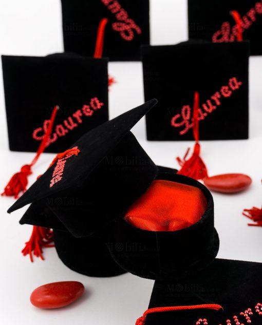 bomobniera scatolina nera tocco tulle rosso e confetti
