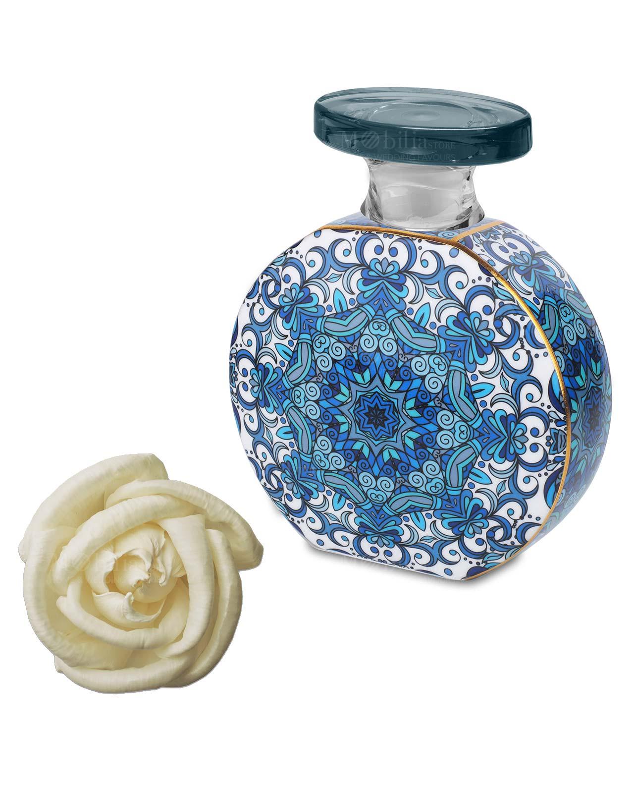 bottiglia diffusore per ambienti decorata beatrice con fiore 225 ml baci milano