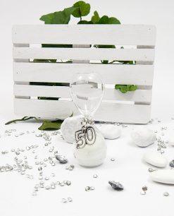 clessidra bianca vetro con ciondolo argento 50