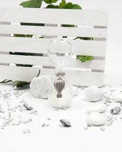 clessidra bianca vetro con ciondolo argento mongolfiera