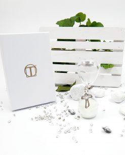 clessidra per bomboniere sacre con ciondolo croce argento