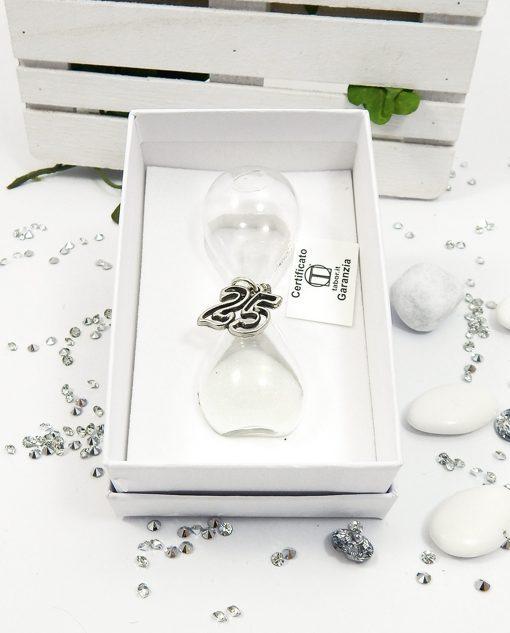 clessidra vetro bianca con ciondolo 25 in argento tabor