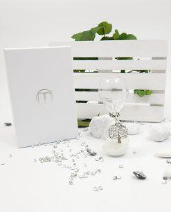 clessidra vetro con ciondolo albero della vita e scatola tabor