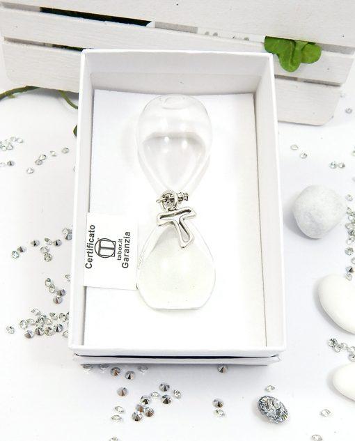 clessidra vetro con croce argento per bomboniere