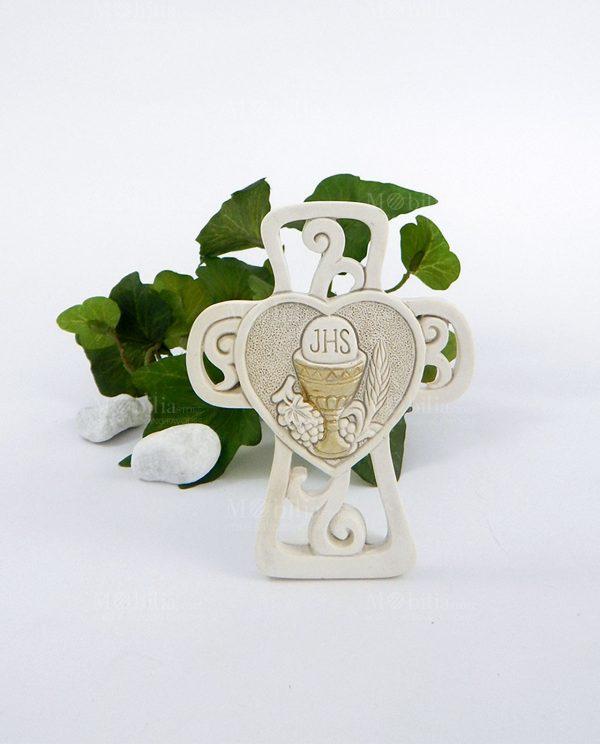 croce da appoggio intagliata con cuore e calice eucaristico
