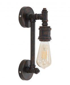 lampada da muro con tubi in ferro stile industrial mauro ferretti