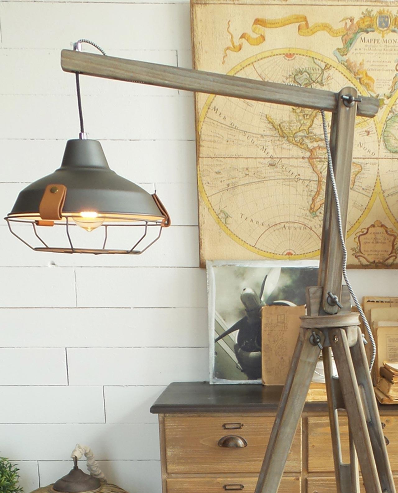 Lampada da terra 3 piedi in legno industriale - Mobilia Store Home ...