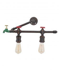 lampadar da muro stile industrial con 2 luci mauro ferretti