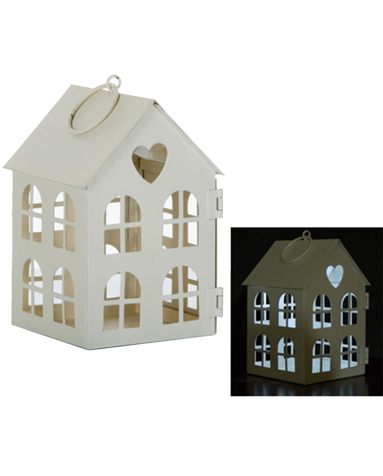 Lanterna casetta in metallo con luce led mobilia store for Luce a led per casa