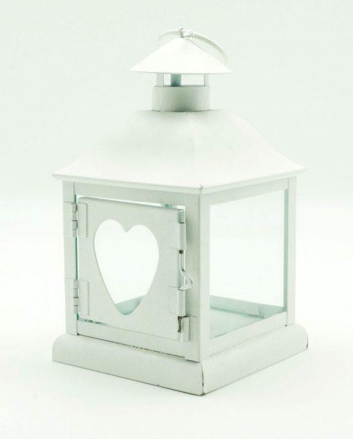 lanterna in metallo bianco con cuore