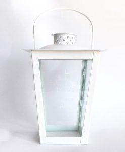 lanterna in metallo bianco grande con scritta
