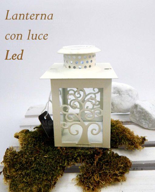 lanterna in metallo con luce led e albero della vita