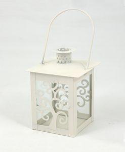 lanterna quadrata bianca in metallo per bomboniere