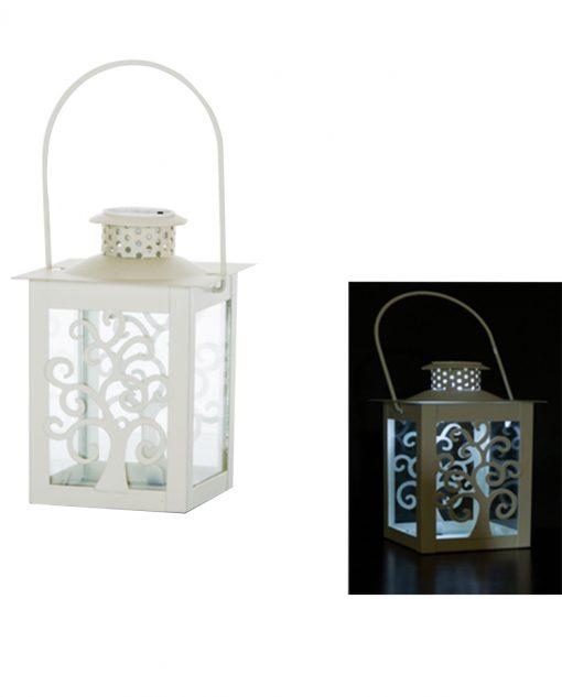 lanterna quadrata in metallo bianco intagliato con luce led