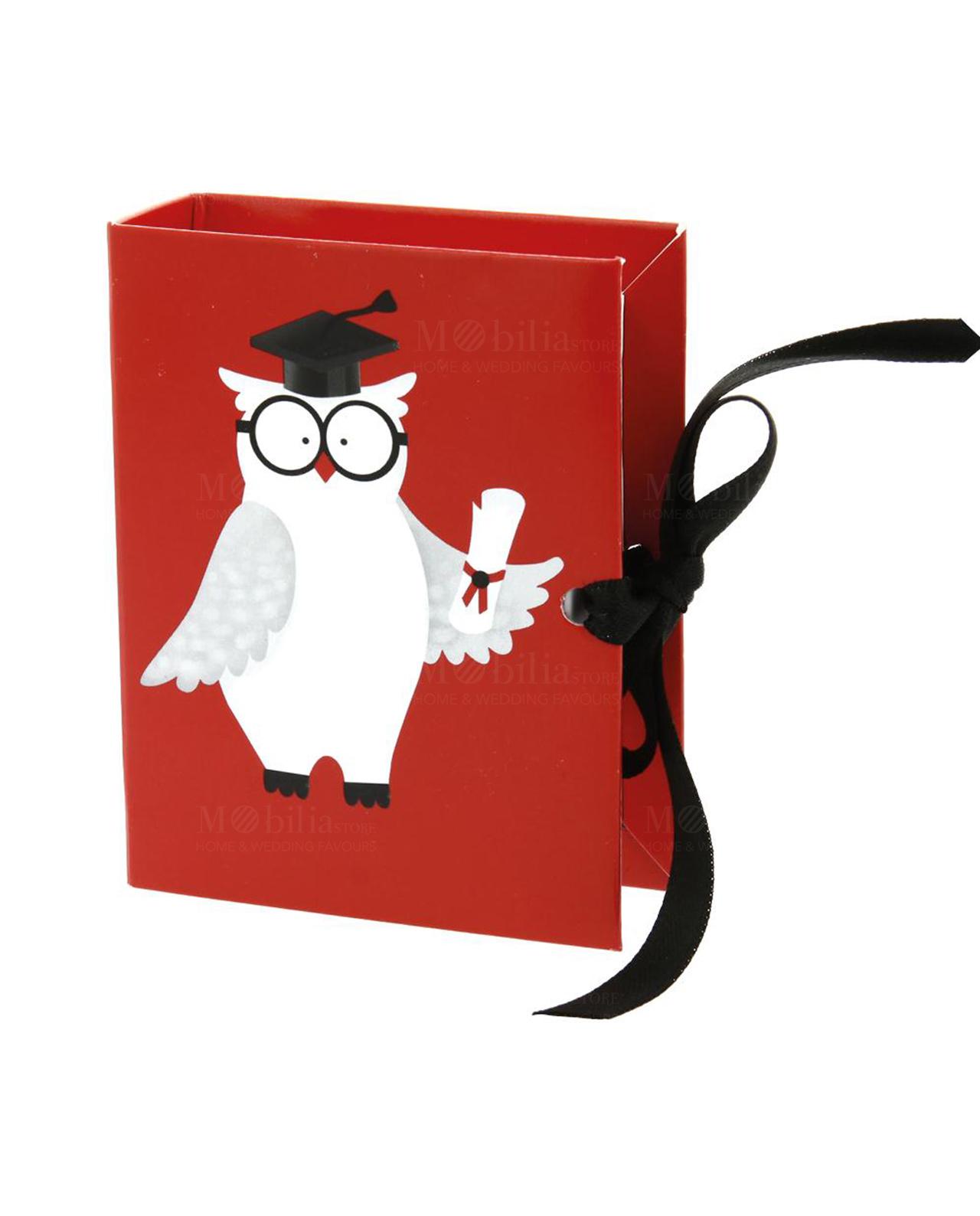 Scatolina portaconfetti a forma libro con gufo laureato - Mobilia ... 0b5e4433845d