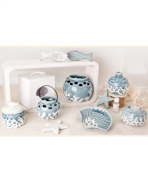 oggetti tema mare in porcellana blu per bomboniere