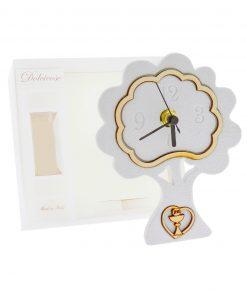 orologio albero bianco con cuore calice