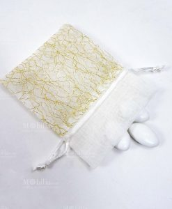 sacchetto cotone bianco con fili oro
