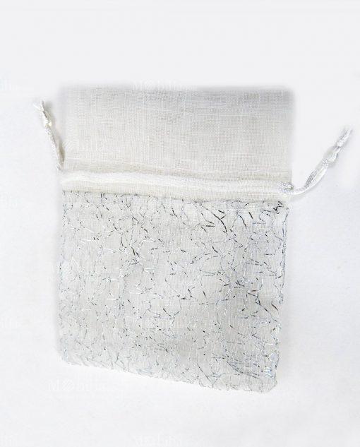 sacchetto portaconfetti in cotone con fili argento