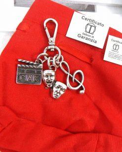 sacchetto rosso con portachiavi argento tabor