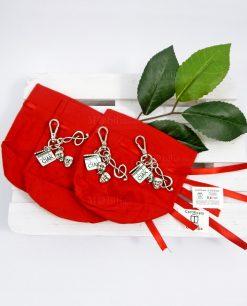 sacchetto rosso con portachiavi tabor