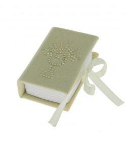 scatola libro portaconfetti avorio con calice
