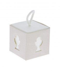 scatolina portaconfetti cartoncino con calice eucaristico intagliato