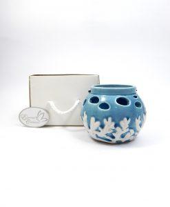 secchiello portacandele piccolo in ceramica blu per bomboniere fai da te