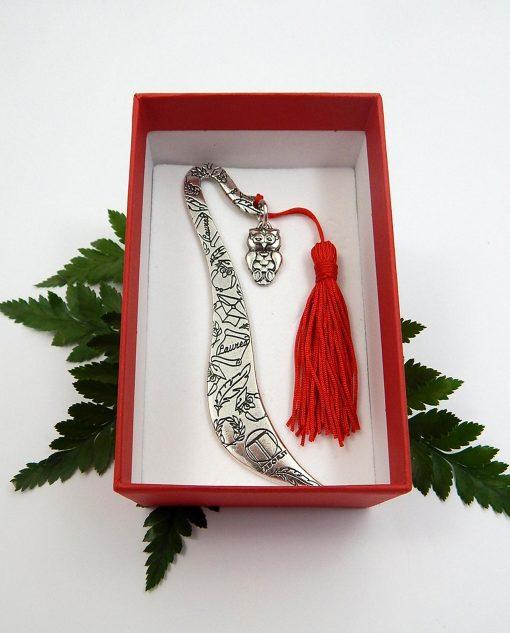 segnalibro argento decorato con gufo e nappina tabor