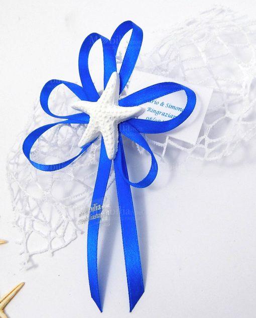 segnaposto con stella marina in gesso bianco