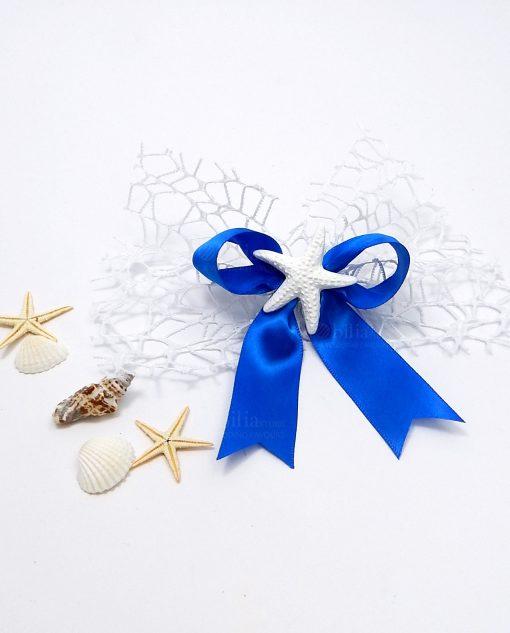 segnaposto stella marina con nastro blu