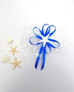 segnaposto tema mare con stella marina in gesso bianco
