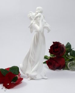 statua porcellana maternità con bambino porcellana bianca morena design