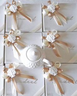 Bomboniera tagliea in porcellana bianca con gesso albero della vita Copia