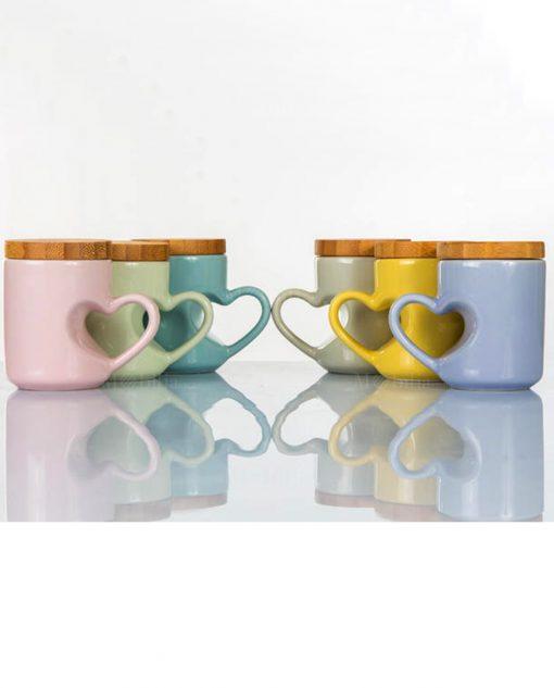 Tazzina portaconfetti con tappo in bambù e manico a forma di cuore