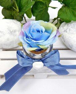 barattolo vetro con rosa blu in tessuto per bomboniere