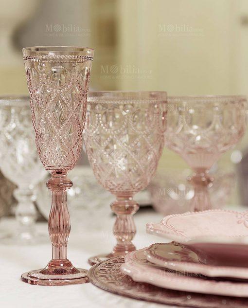 bicchieri rosa collezione neo barocco