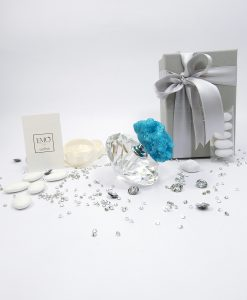 bomboniera bottiglia porta profumo cristallo con pietra azzurra