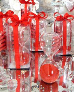 bomboniera clesidra con sabbia rossa e scatola trasparente