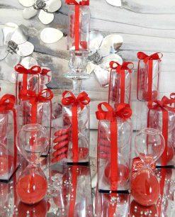 bomboniera clessidra vetro con sabbia rossa
