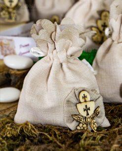 bomboniera sacchettino portaconfetti juta con tirante e applicazione legno calice