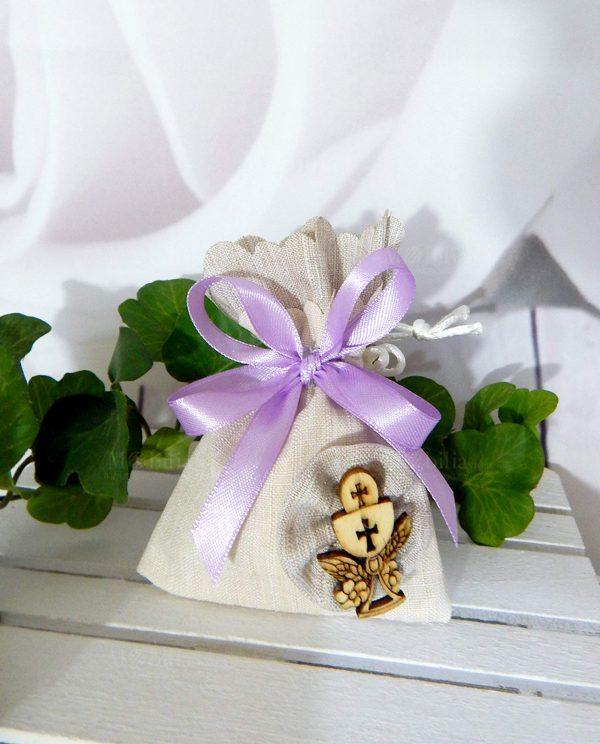 sacchettino con applicazione legno calice eucaristico e nastrino lilla