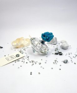 bottiglia per profumo cristallo con pietra azzurra
