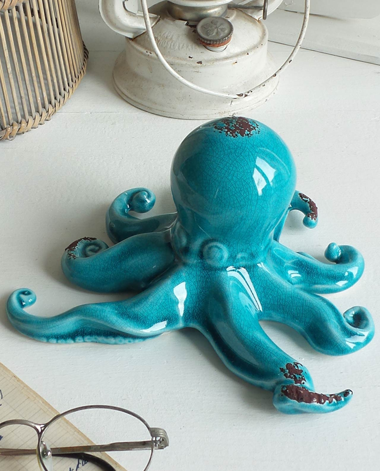 Polpo In Ceramica Blu Decorativo Mobilia Store Home