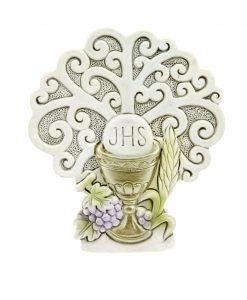 icona albero della vita con calice eucaristico e uva