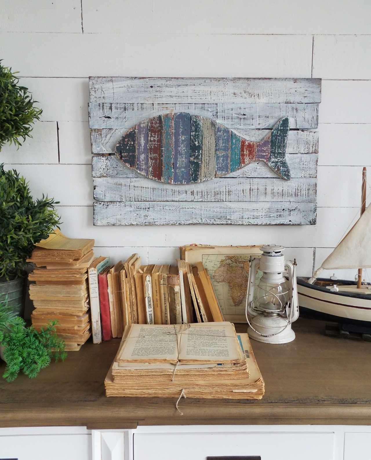 Pannello da parete in legno con pesce colorato mobilia - Quadri per casa mare ...